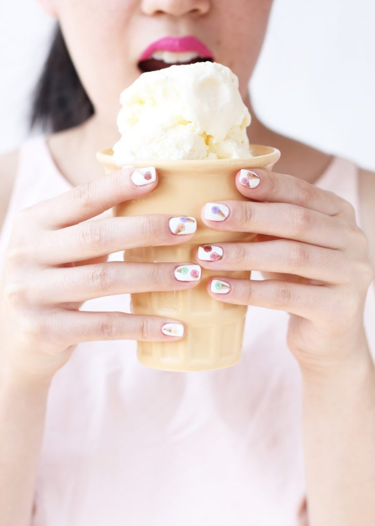 photo about Printable Nail Decals identified as Do it yourself Ice Product Cone Nail Decals + Printables