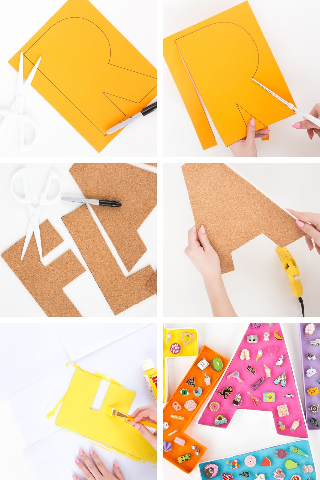 cork sheet or corkboard scissors sharpie craft paint in various colors hot glue gun illustration board paintbrush