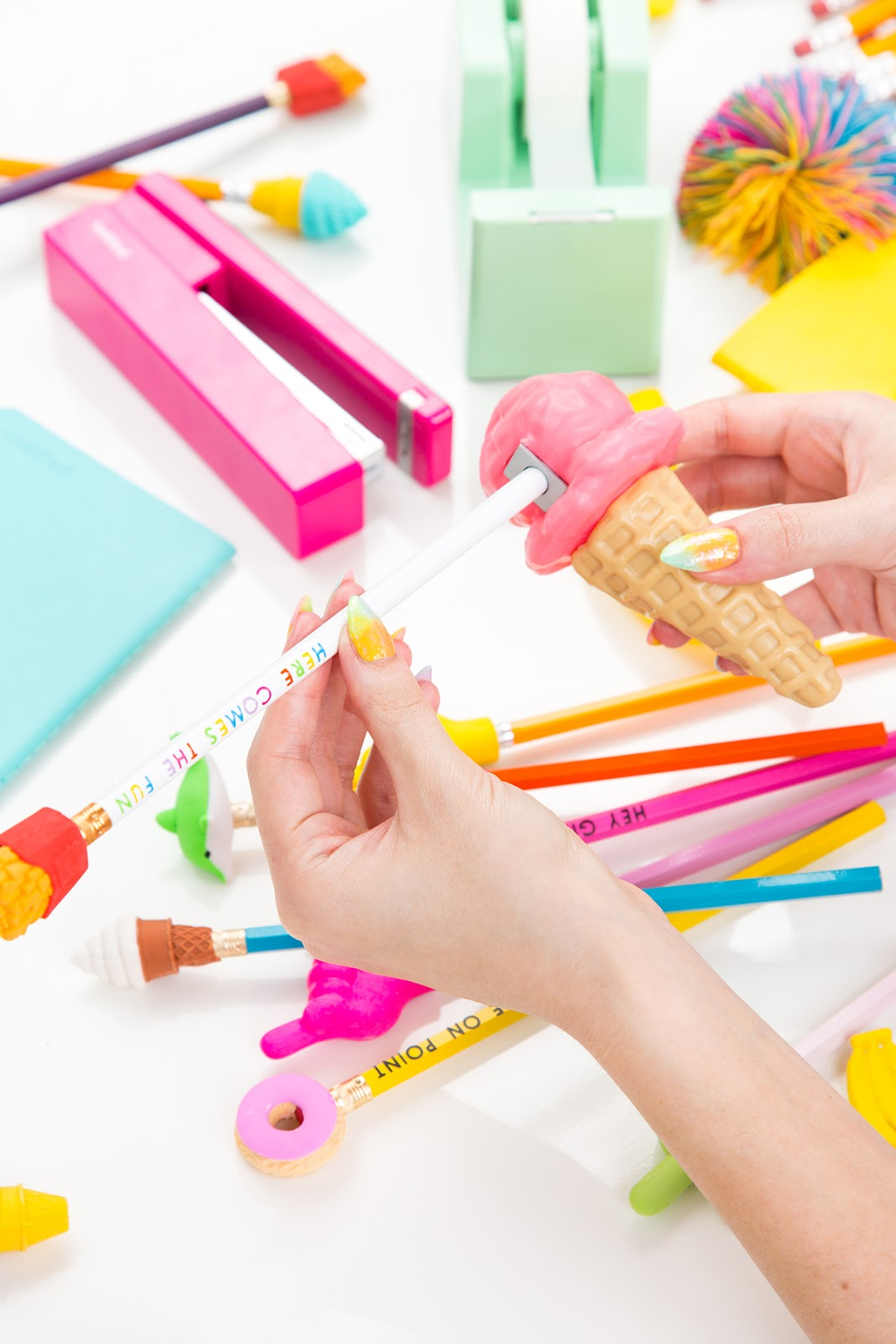 0dfdeca0d2 We've got a pencil holder, eraser toppers, typography pencils, and  sharpeners on the list of things to make, and you better believe that  they're all full of ...